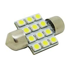 31mm 1W 12x3528 SMD 50lm 5500 ~ 6500K White Light LED-lamppu Auton Festoon Dome lukulamppu (DC 12V)
