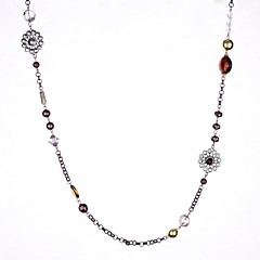 Chocolate Stone Set Semi Precious Beaded Long Necklace