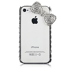 Bowknot Rhinestone Pattern Back Case for iPhone4/4S