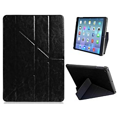 Suveren kvalitet Quad-fold Faux Leather Flip sak med stativ for iPad Air (assorterte farger)