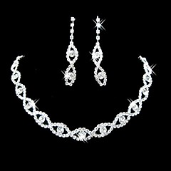 Sieraden Kettingen / Oorbellen Bruidssieradensets Verzilverd imitatie Diamond / Bergkristal Verloving / Bruiloft / Feest Legering / Strass