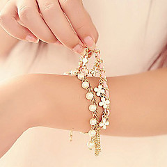 Z&X®  Artistic Pearl 45cm Women Golden Alloy Charm Bracelet(Multicolor,White)(1 Pc) Christmas Gifts