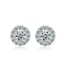 18K White Gold Plated 1.5Ct Simulated Diamond Stud Earrings Use SWA Elements Crystal