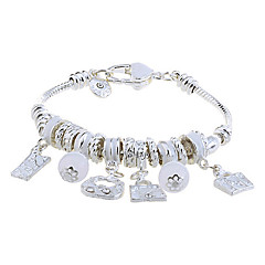Lureme®Bohemian Style Silver Plated Multi Beads Connected Bracelet (Assorted Colors)