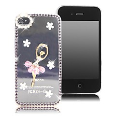 HOHONG ™ Bling Rhinestones Purple Frame with Ballet Girl Crystal Case for iPhone 4/ 4S