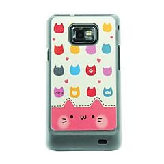 Big Face Cat Läder Vein Mönster Hårt Fodral till Samsung Galaxy S 2 I9100