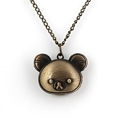 Kvinners Little Bear stil Quartz Metallic Necklace Watch
