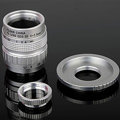 35mm F1.7 CCTV Lens + Macro Rings + C-NEX Adapter Ring Set for Sony NEX-5C NEX-7 etc - Sølv