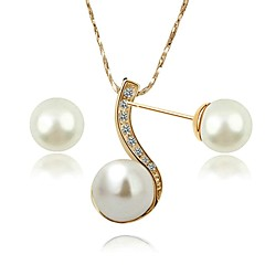 18K Rose/White Gold Plated Use Austria Crystal Shinning Pearl Pendant Necklace Earrings Set
