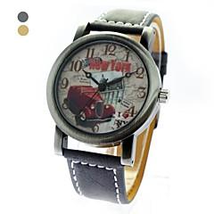 Unisex Round Dial PU Band Quartz Bronze Wrist Watch (Assorted Colors)