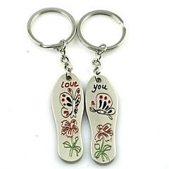 (2 PC) Krásné módní Creative vložky Butterfly Flower Milovníci High-Grade Stainless Stee Keychain