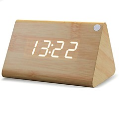 Shibaojia ® LED Klokke Wooden Clock Sound Control