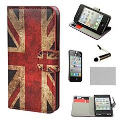 COCO FUN ® Das Union Jack-Muster Retro UK Flagge Mappe PU-Leder Hard Cases mit Stativ für iPhone 4S inklusive Film und Stylus