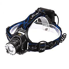 תאורה פנסי ראש LED 1200 Lumens 3 מצב Cree XM-L T6 18650 מיקוד מתכוונן / עמיד למים / ניתן לטעינה מחדש / הגנה עצמית רב שימושיסגסוגת