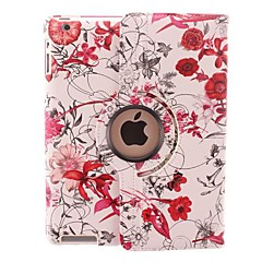 Bright-coloured Flower Vine Design 360 Degree Rotating PU Leather Case & Stand for iPad 2/3/4