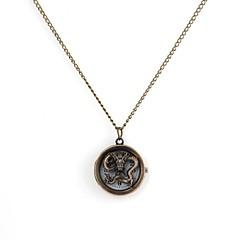 Unisex Hollow Dragon Cover Alloy Analog Quartz Necklace Watch