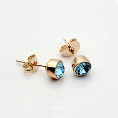 Concise Crystal 18K Rose Gold Plated 5mm Round Ear Studs with Aubergine Shining Austria Crystal Earrings