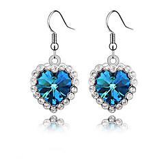 Sea Blue Heart Drop Earrings
