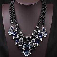 European Vintage  Blue Crystal Statement Necklace (1 Pc)