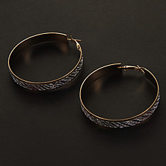 Fashion 6 CM Frosting Round Shape Alloy Hoop Earrings(Multicolor,Silver) (1 Pair)