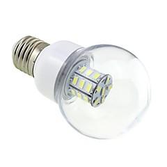 E27 4W LED 27x5730 SMD 350 ~ 400LM 5500 ~ 6000K White Light Bulb Globe με το Clear Cover (AC / DC 12V ~ 24V)