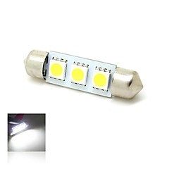 39mm 1W 3x5050 SMD LED 50lm 6000K White Lights Festoon Dome Map License Plate Light Lamp Bulb for Car (DC 12V)
