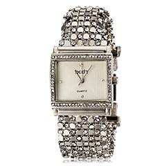 Women's Delicate Square Case Diamand Silver Steel Band Quartz Bracelet Watch (Assorted Colors)