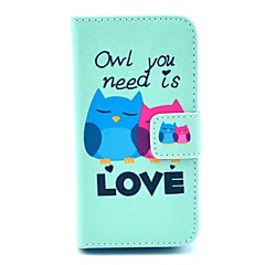Two Owl Lovers Pattern on Green PU Leather Full Body case for iPhone 4/4S