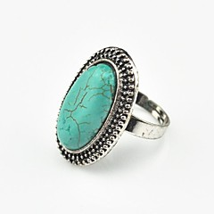 Anillo Vintage Look Mujer Verde aleación Tibet Oval Turquoise ajustable (verde) (1pcs)