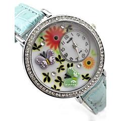 Women's Butterfly Pattern Diamond Case PU Band Quartz Analog Wrist Watch  (Assorted Colors)
