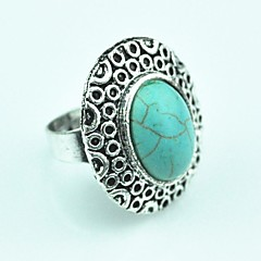 Toonykelly ® Vintage weiblich Tibet Alloy Türkis Einstellbare Ring (Grün) (1pcs)