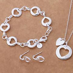 Fashion forsølvet Halskæde Øreringe Armbånd smykker sæt (1 sæt)