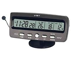 "3,8 ""LCD-Auto-Indoor / Outdoor Digital-Temperatur w / Clock - Grey (2 x LR44 / DC 9 ~ 16V)"