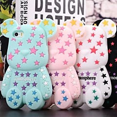 3D Cute Color Pentagram Bears Pattern Designed Silicon Soft Case for iPhone 4/4S (Assorted Colors)