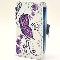 Plin de viață Purple Butterfly model PU Geantă din piele cu suport pentru Samsung Galaxy S4 I9500