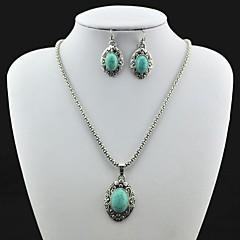 Antique Vintage Plata Turquesa (incluye el collar y pendiente) Sistema de la joyería (Verde)