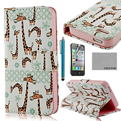 COCO FUN® Cute Giraffe PU Leather Full Body Case with Screen Protector, Stand and Stylus for iPhone 4/4S