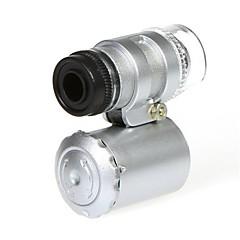 Mini 60X Microscoop met 2-LED-verlichting Valuta Opsporen van UV-licht voor iPhone 5/5S (3 * LR1130)