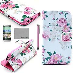 코코 fun® 화면 보호기, 스타일러스 꽃 패턴 PU 가죽 전신 경우 장미와 HTC 한 M8 스탠드