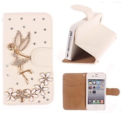 tekojalokivi käsintehty bling enkeli ja kukka suunnittelu nahkakotelo iPhone 4/4S
