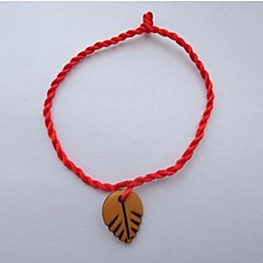 Chinese Red Leaves Symbol of Peace and Prosperity for the Classic Red Rope Bracelet