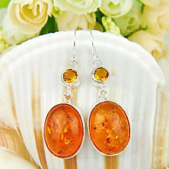 Classic Amber Gemstone Daily Drop Silver Earrings 1pair