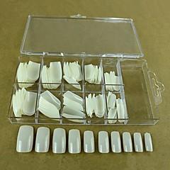10x10pcs mixs grootte natuurlijke volledige nail art tips