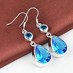Drop Blue Topaz Gemstone Daily Drop Silver Classis Earrings 1 pairs