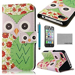 COCO FUN® Green Flower Owl Pattern PU Leather Full Body Case with Screen Protector, Stand and Stylus for iPhone 4/4S