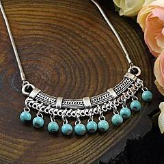 Vintage Turquoise Pendant Tibetan Silver Statement Necklace