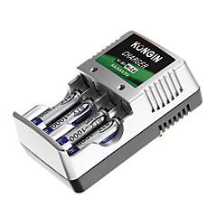 chargeur de batterie de kongin pour aa/aaa/9v/ni-mh/ni-cd avec au bouchon (4xAAA inclus)