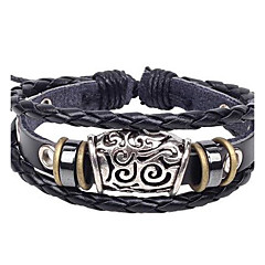 Men's Popular Hollow Feature Leather Braided Bracelets