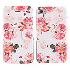 Little Red Flower Design PU Full Body Case with Card Slot for iPhone 4/4S
