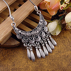 Bohemian Carved Flower Moon Pendant Tibetan Silver Statement Necklace